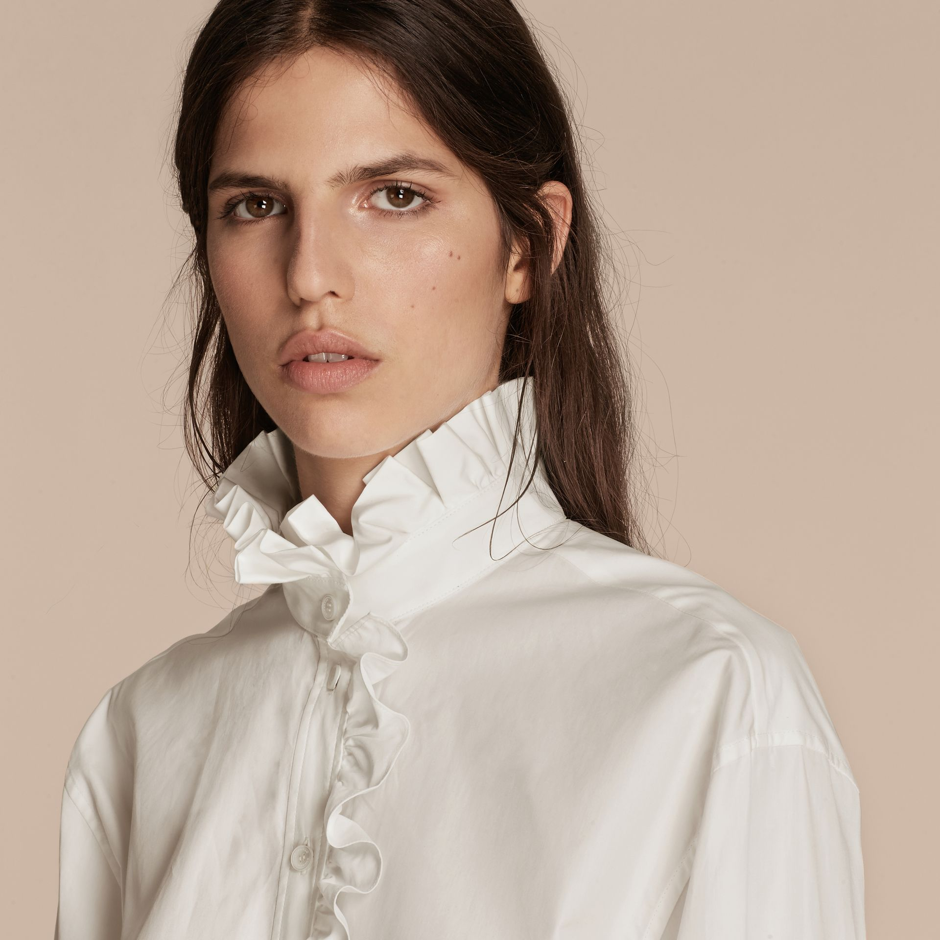 White Cotton Shirt with Ruffles - gallery image 5