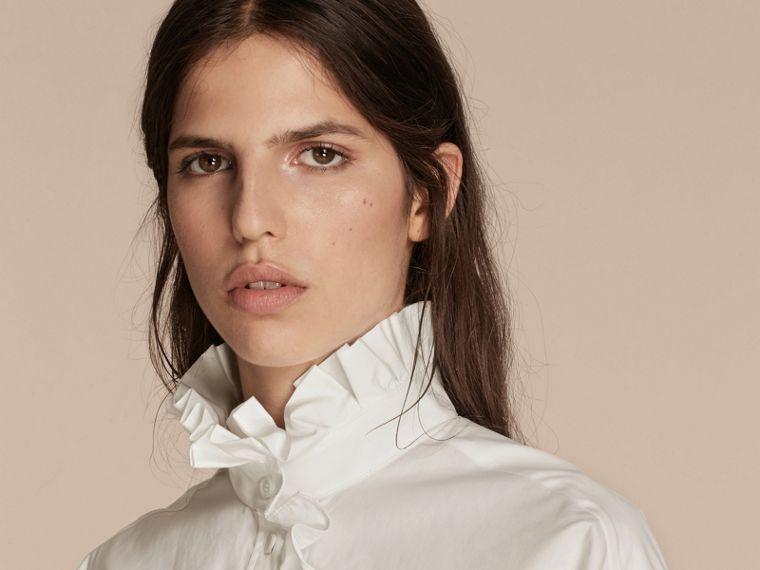 White Cotton Shirt with Ruffles - cell image 4