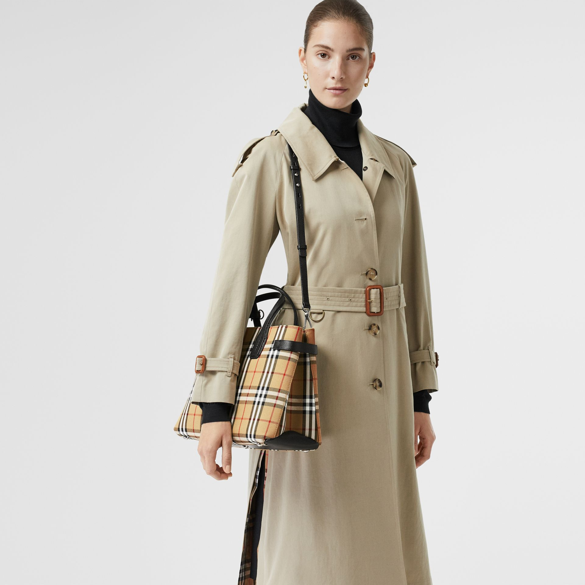 The Medium Banner in Vintage Check and Leather in Black - Women | Burberry - gallery image 3
