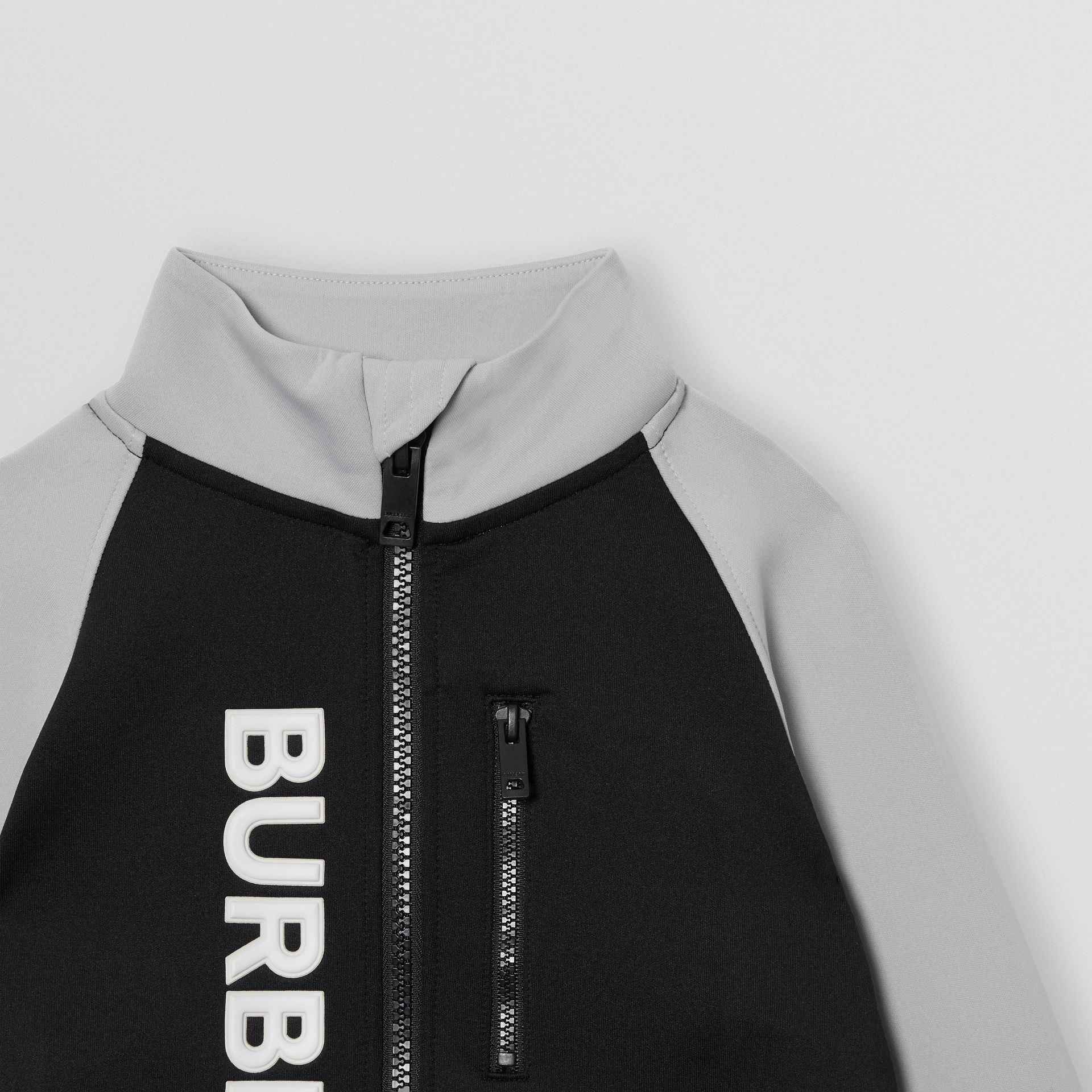 Logo Print Two-tone Stretch Jersey Track Top in Black | Burberry - gallery image 4