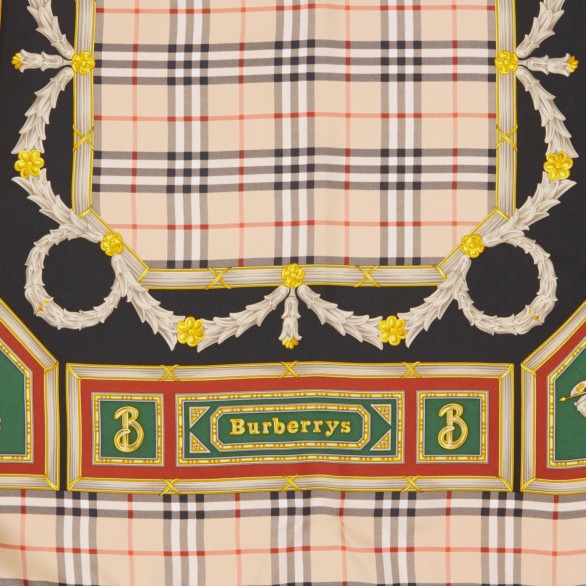 Check Archive Scarf Print Silk Square Scarf in Antique Yellow | Burberry - gallery image 1