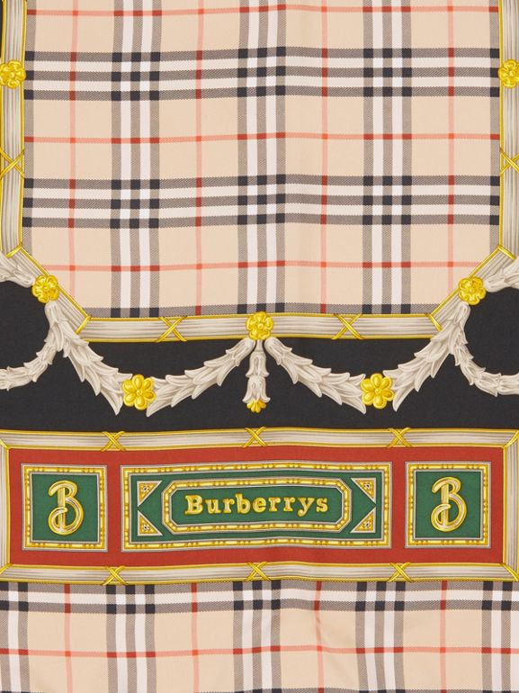 Check Archive Scarf Print Silk Square Scarf in Antique Yellow - Women | Burberry - cell image 1