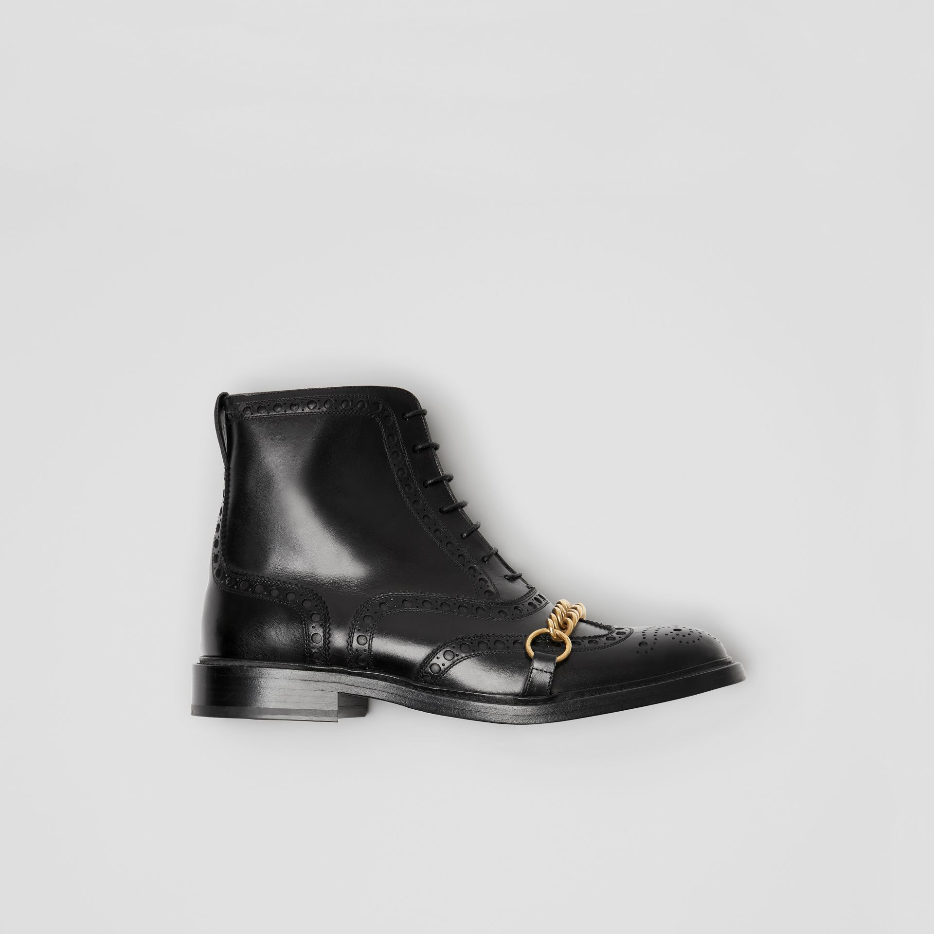 Link and Brogue Detail Leather Boots in Black - Women | Burberry - gallery image 0