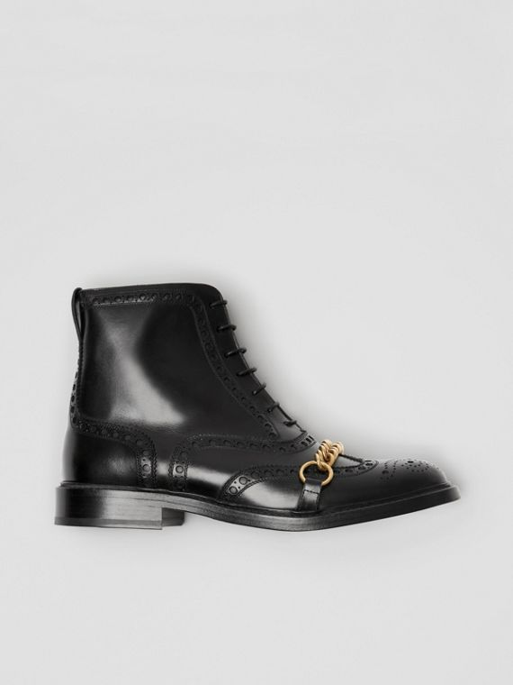 Link and Brogue Detail Leather Boots in Black