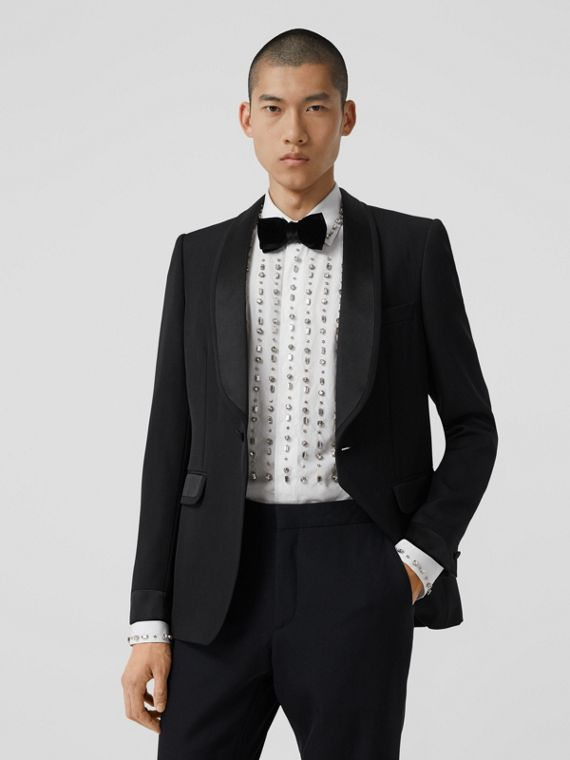 English Fit Silk Trim Wool Tailored Jacket in Black