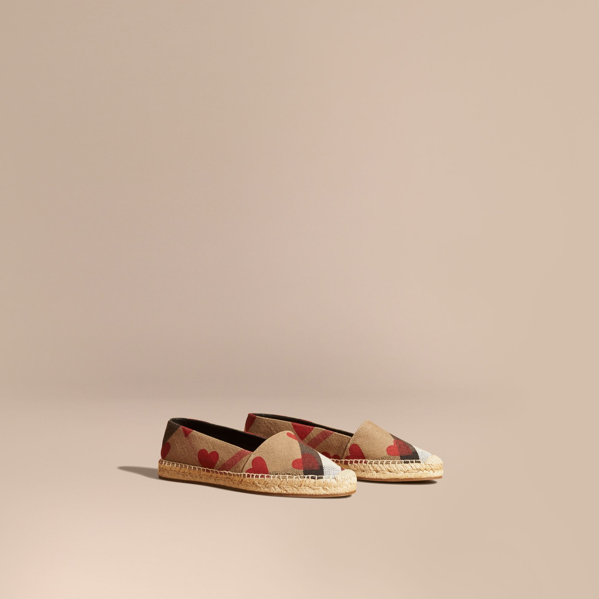 House check/parade red Heart and Canvas Check Espadrilles - gallery image 1