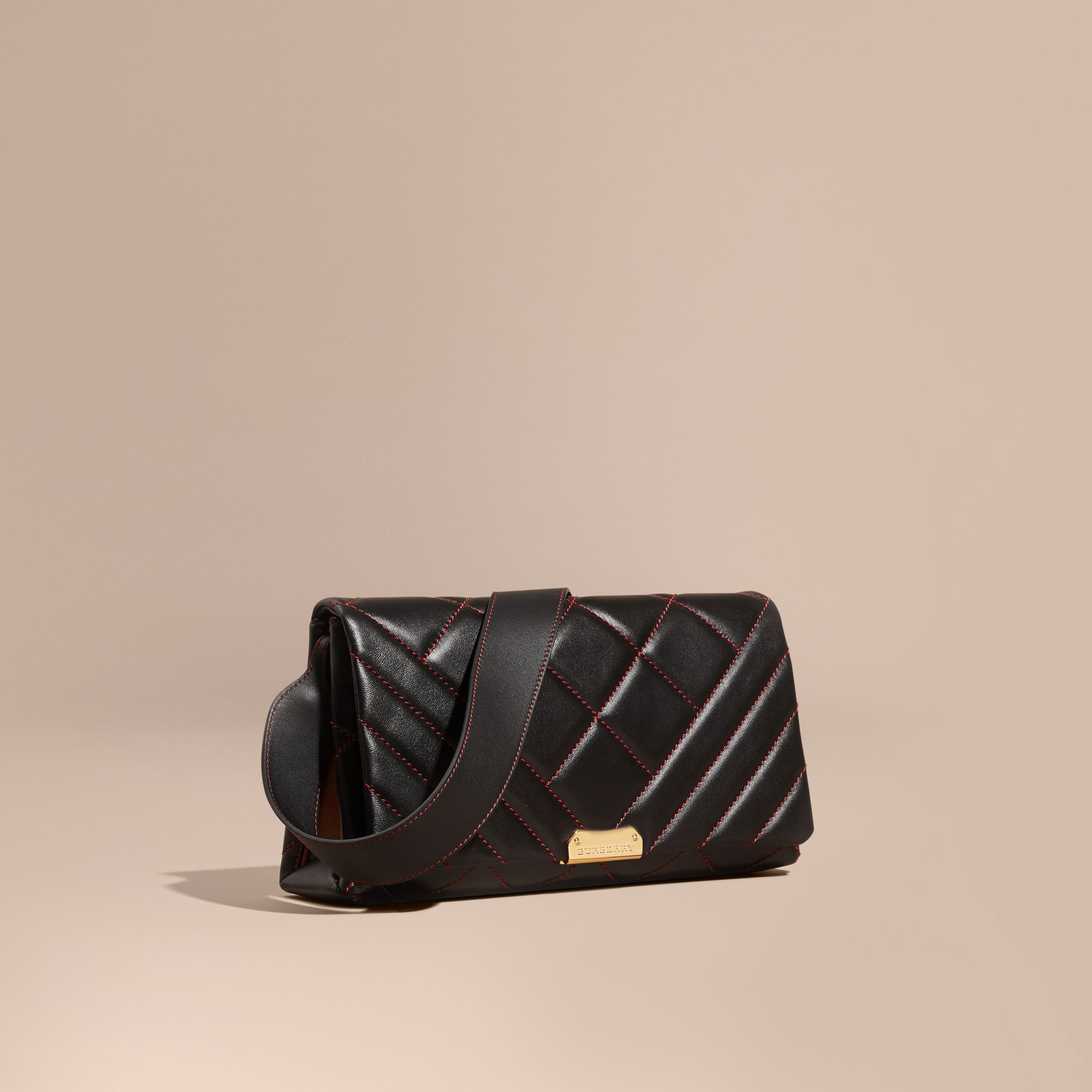 Black/ parade red Quilted Leather and House Check Clutch - gallery image 1