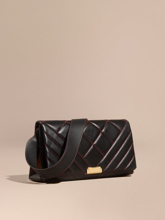 Quilted Leather and House Check Clutch