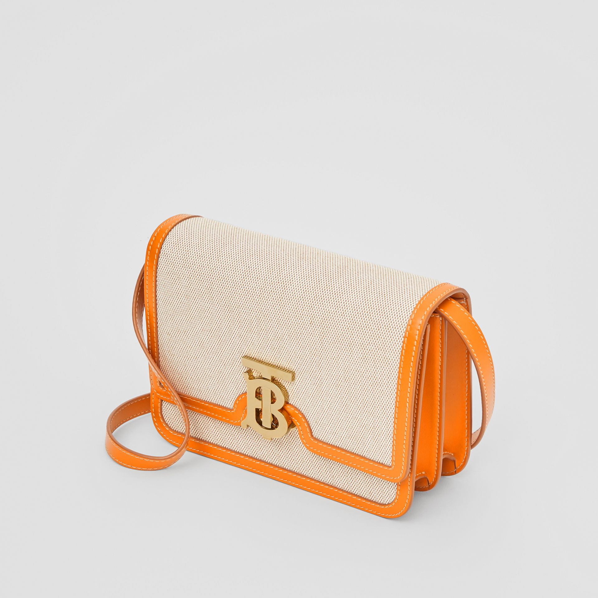 Small Two-tone Canvas and Leather TB Bag in Orange - Women | Burberry - gallery image 2