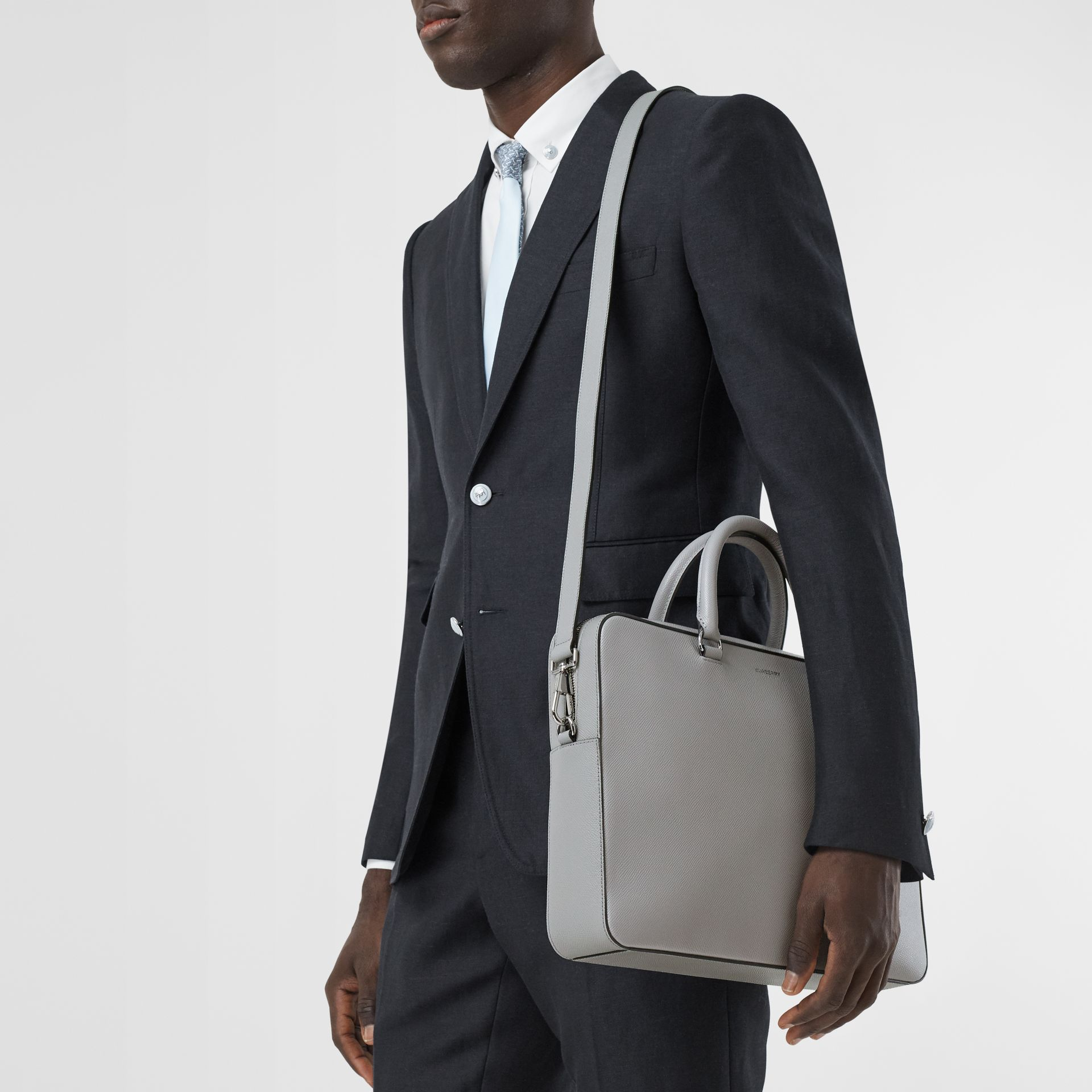 Grainy Leather Briefcase in Cloud Grey - Men | Burberry - gallery image 8