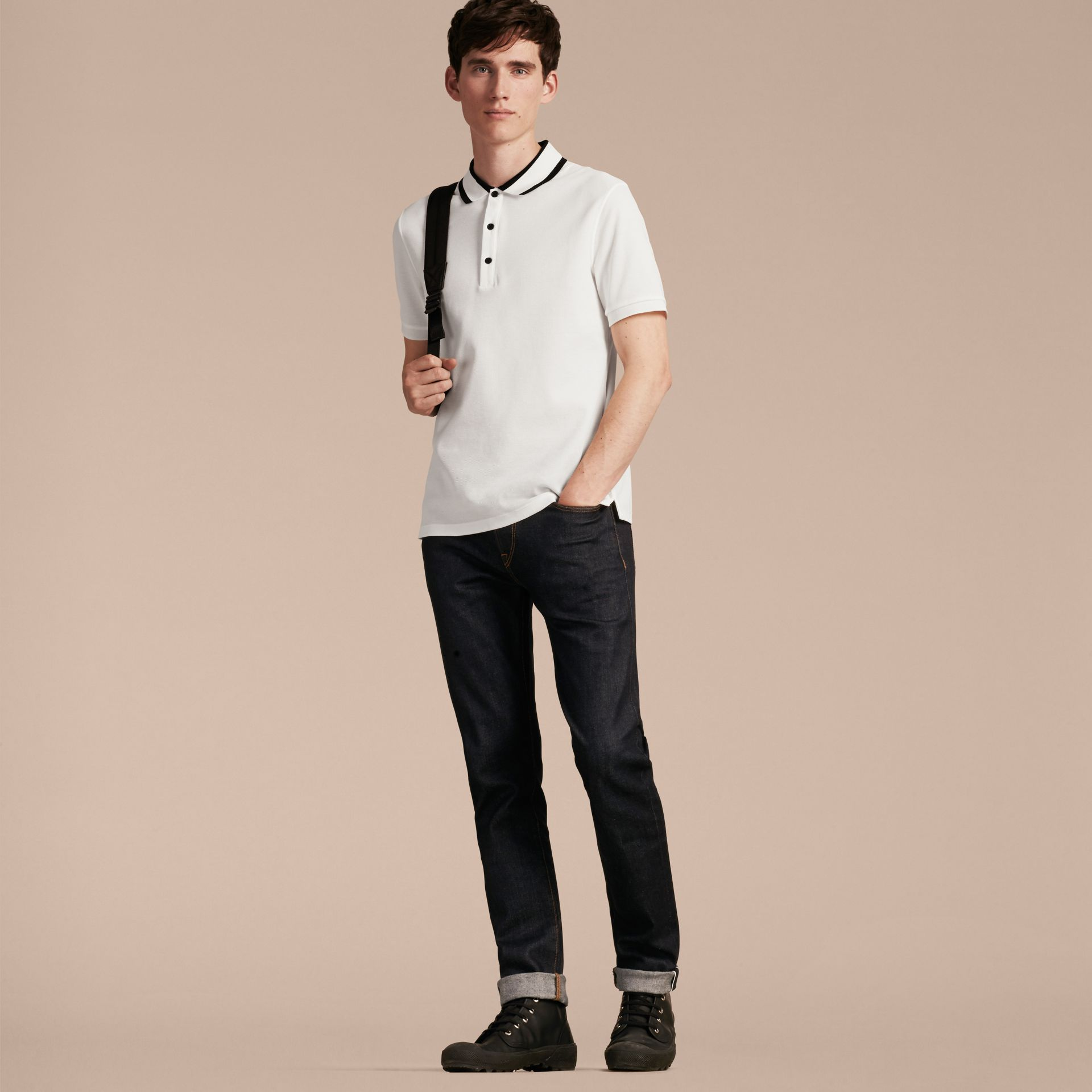White Striped Collar Cotton Piqué Polo Shirt White - gallery image 6
