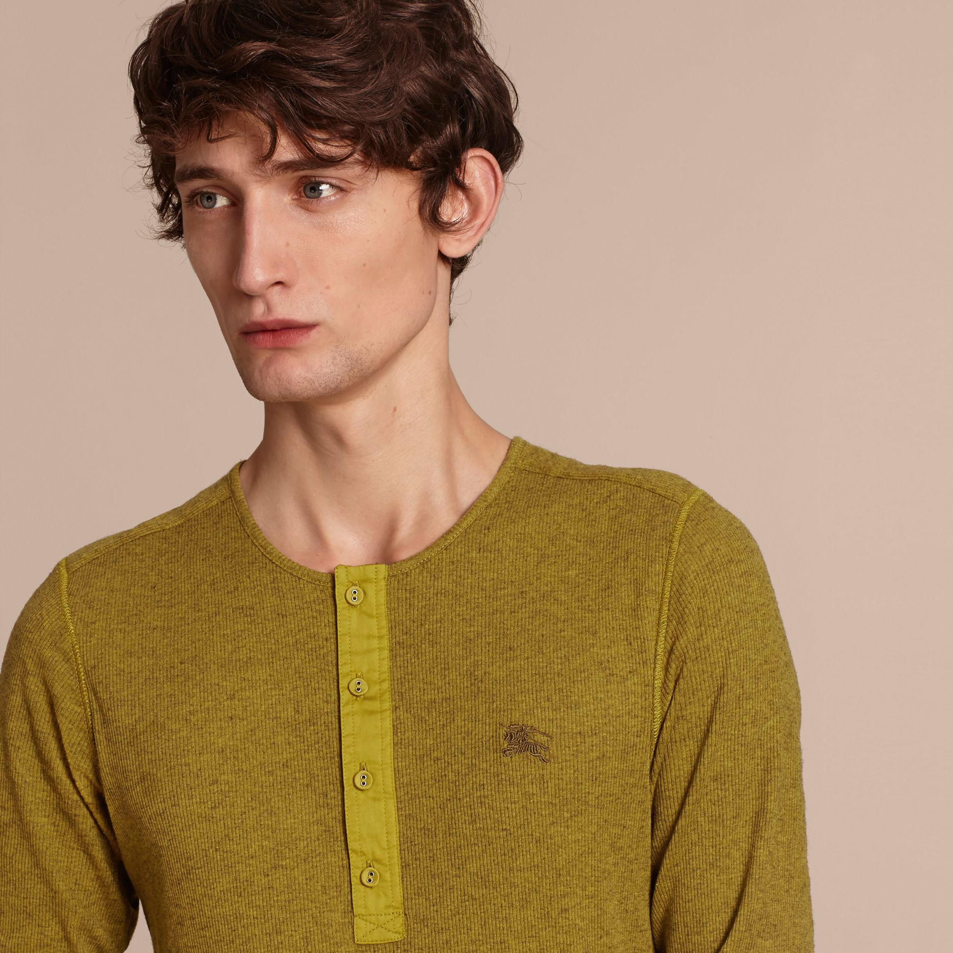 Olive green Ribbed Cotton Wool Henley Top Olive Green - gallery image 5