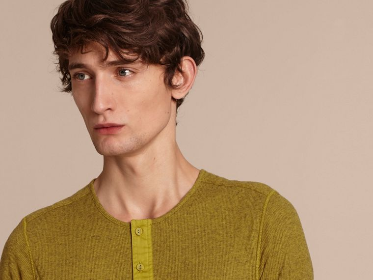 Olive green Ribbed Cotton Wool Henley Top Olive Green - cell image 4