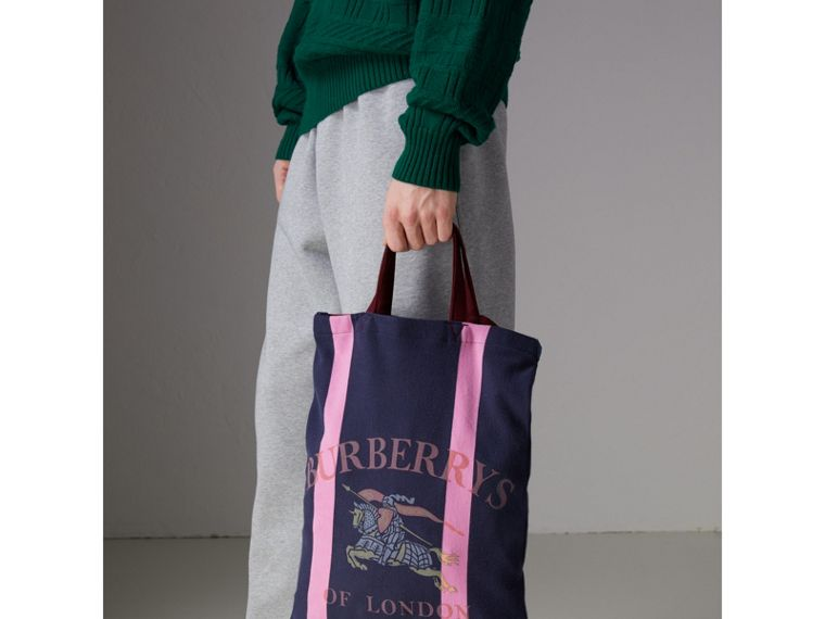 Medium Archive Logo Jersey Shopper in Navy/rose Pink | Burberry - cell image 4
