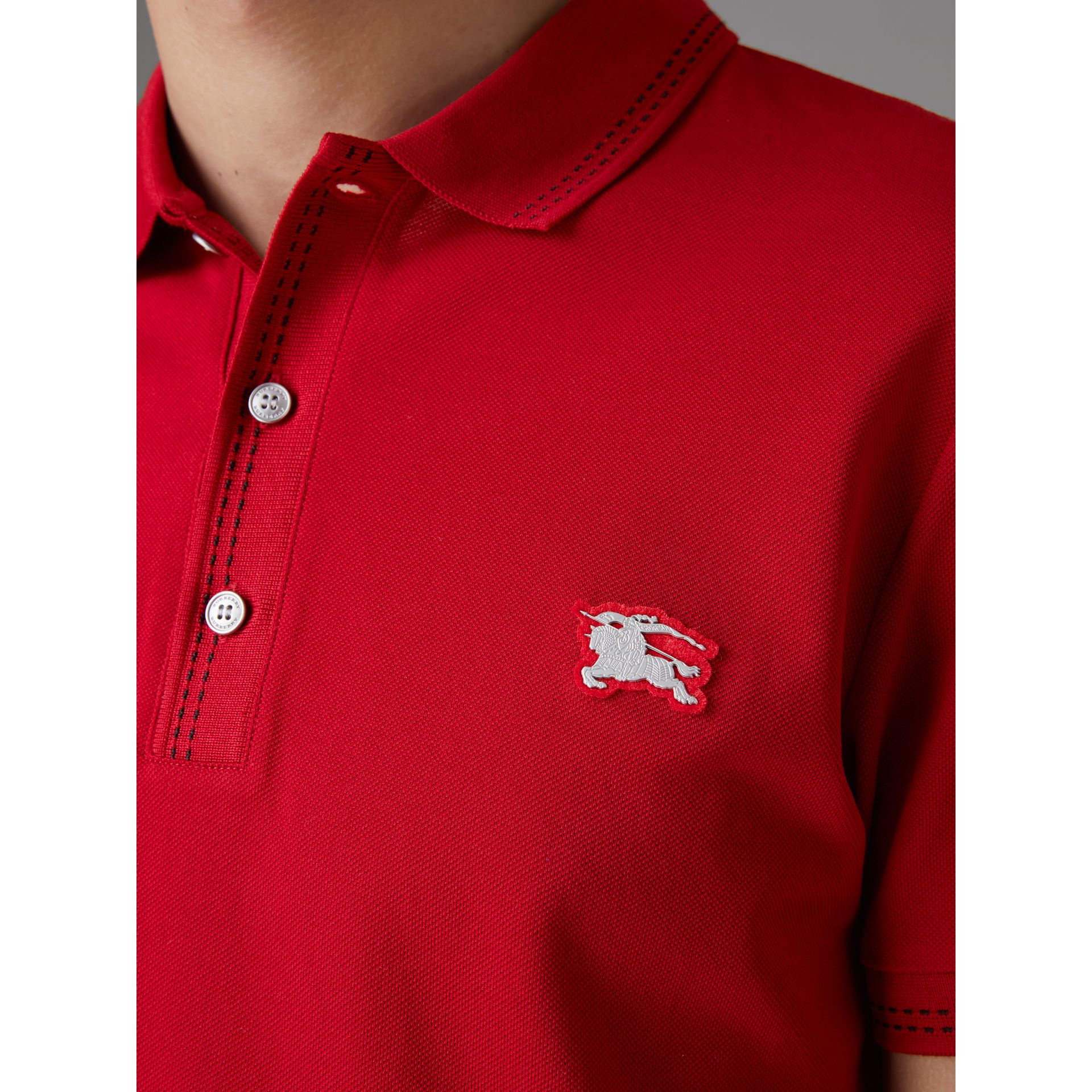 Cotton Piqué Polo Shirt in Military Red - Men | Burberry Australia - gallery image 1