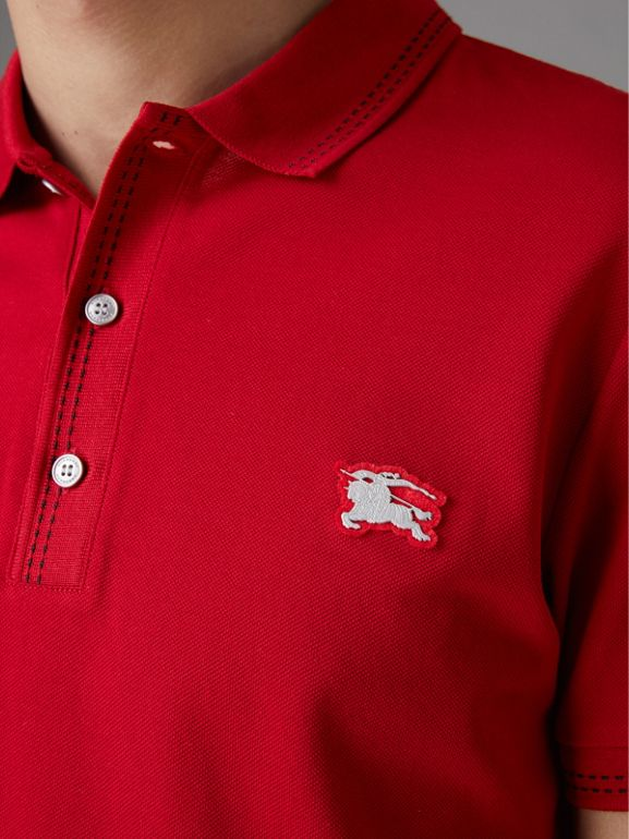 Cotton Piqué Polo Shirt in Military Red - Men | Burberry Australia - cell image 1