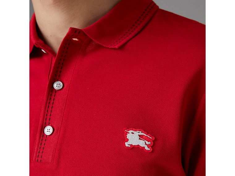 Cotton Piqué Polo Shirt in Military Red - Men | Burberry United States - cell image 1