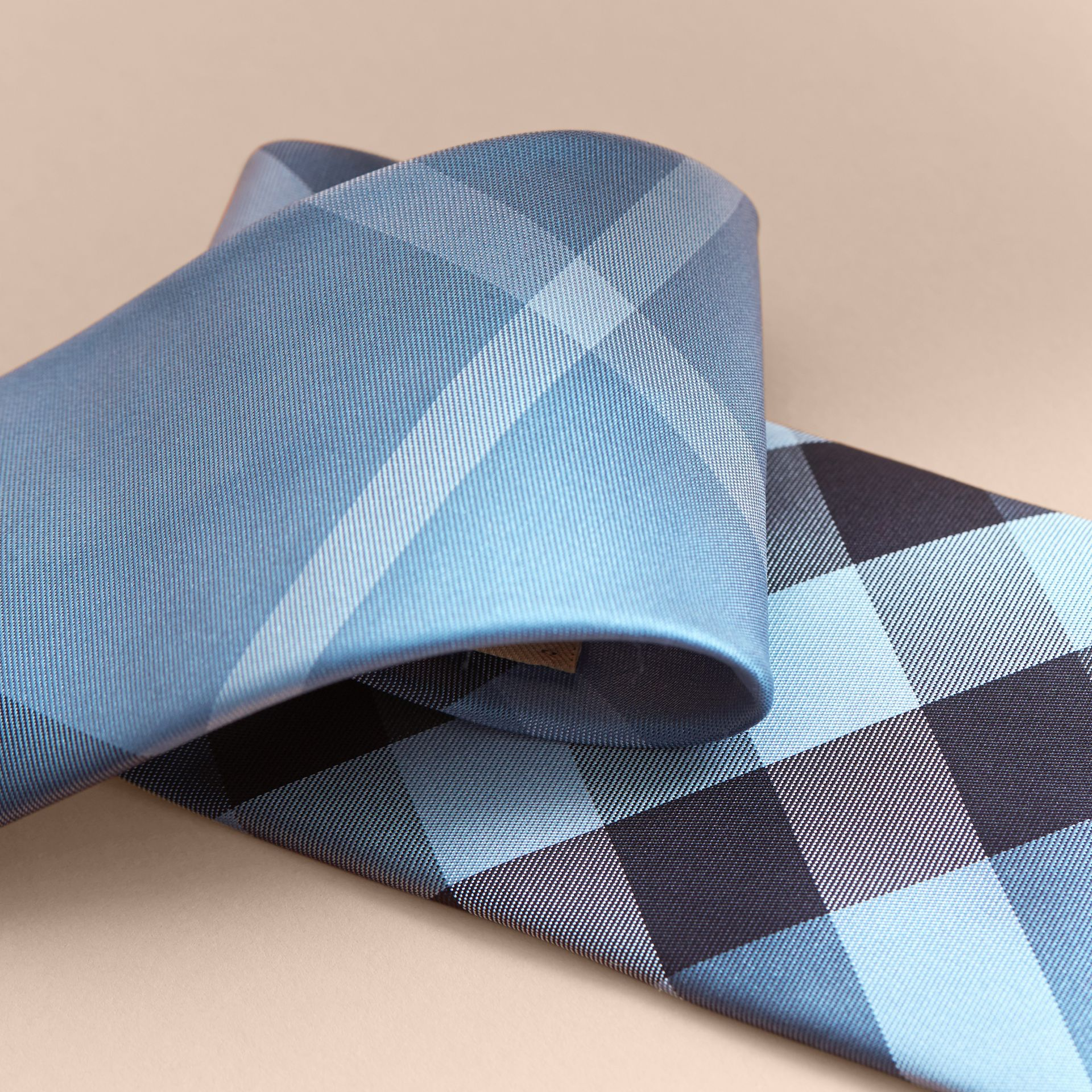 Modern Cut Check Silk Tie Light Blue - gallery image 2