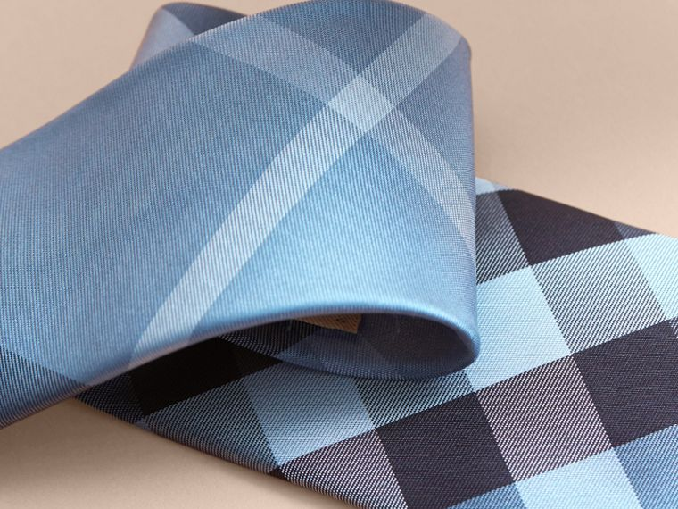 Modern Cut Check Silk Tie Light Blue - cell image 1