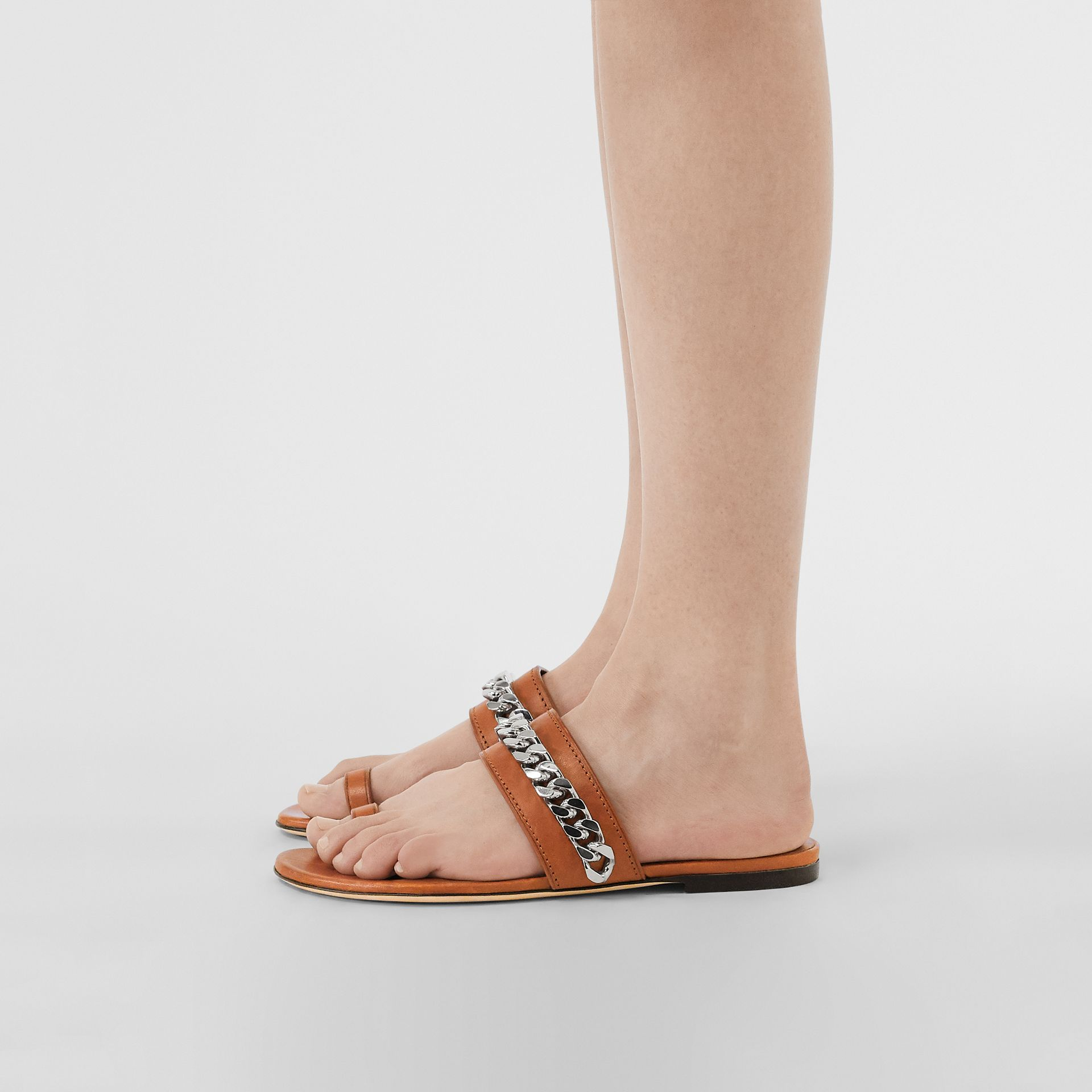 Chain Detail Leather Sandals in Amber - Women | Burberry - gallery image 2