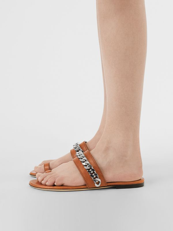Chain Detail Leather Sandals in Amber - Women | Burberry - cell image 2