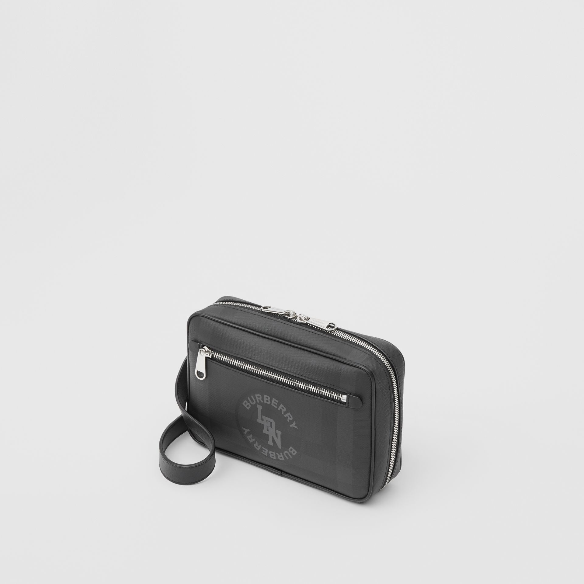 Logo Graphic London Check Crossbody Bag in Dark Charcoal - Men | Burberry - gallery image 3