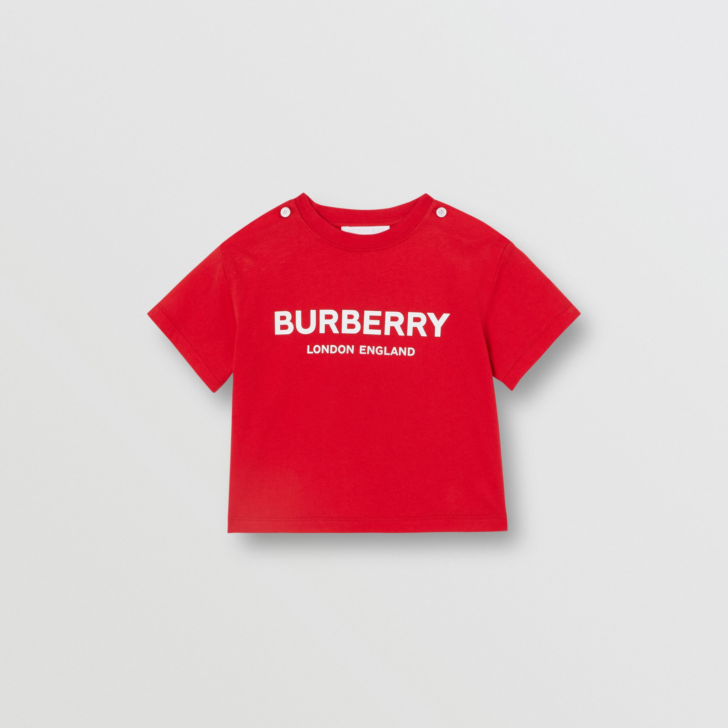 Logo Print Cotton T-shirt in Bright Red - Children | Burberry - 1