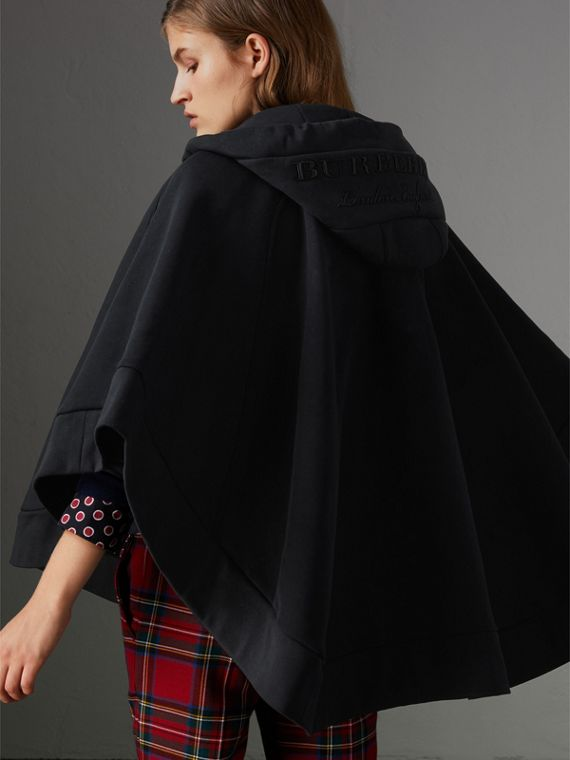Embroidered Jersey Hooded Cape in Black | Burberry Australia - cell image 2