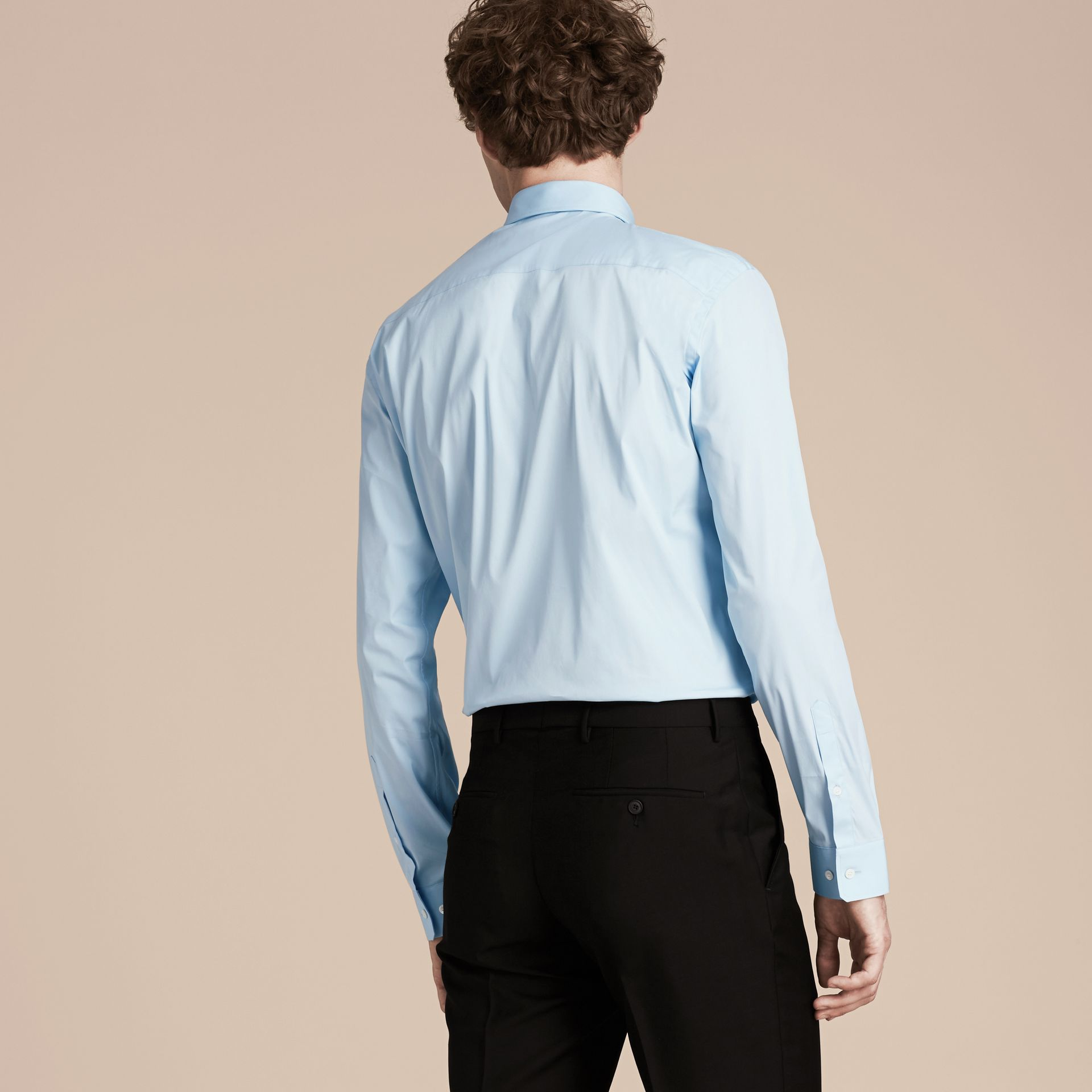 Modern Fit Stretch Cotton Shirt in City Blue - Men | Burberry Canada - gallery image 3