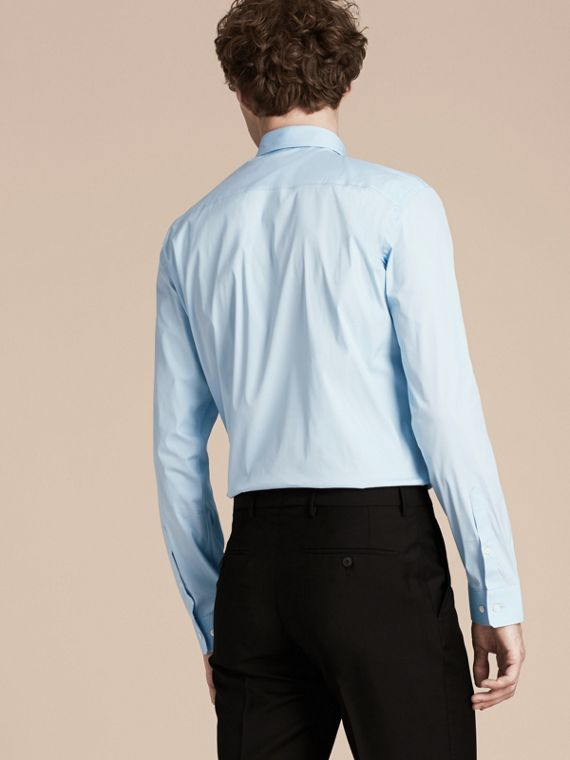 Modern Fit Stretch Cotton Shirt in City Blue - cell image 2