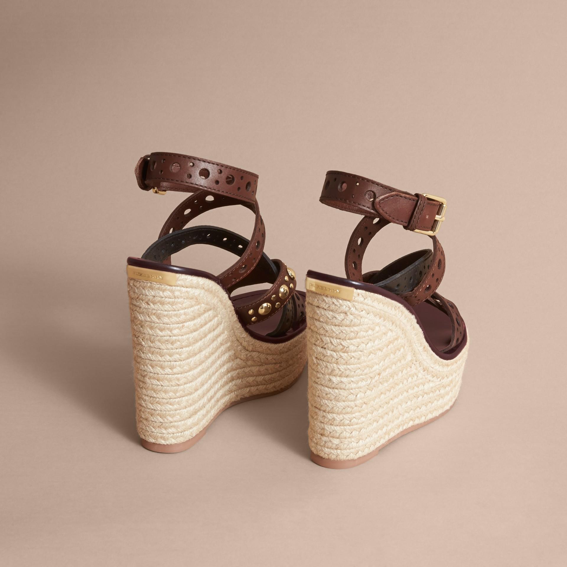 Riveted Leather Platform Espadrille Wedge Sandals - gallery image 4
