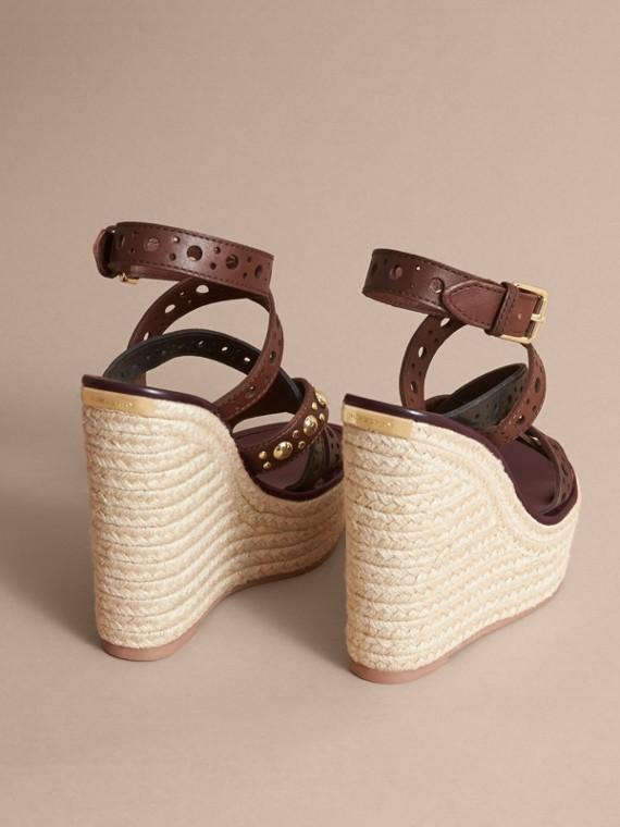 Riveted Leather Platform Espadrille Wedge Sandals - cell image 3