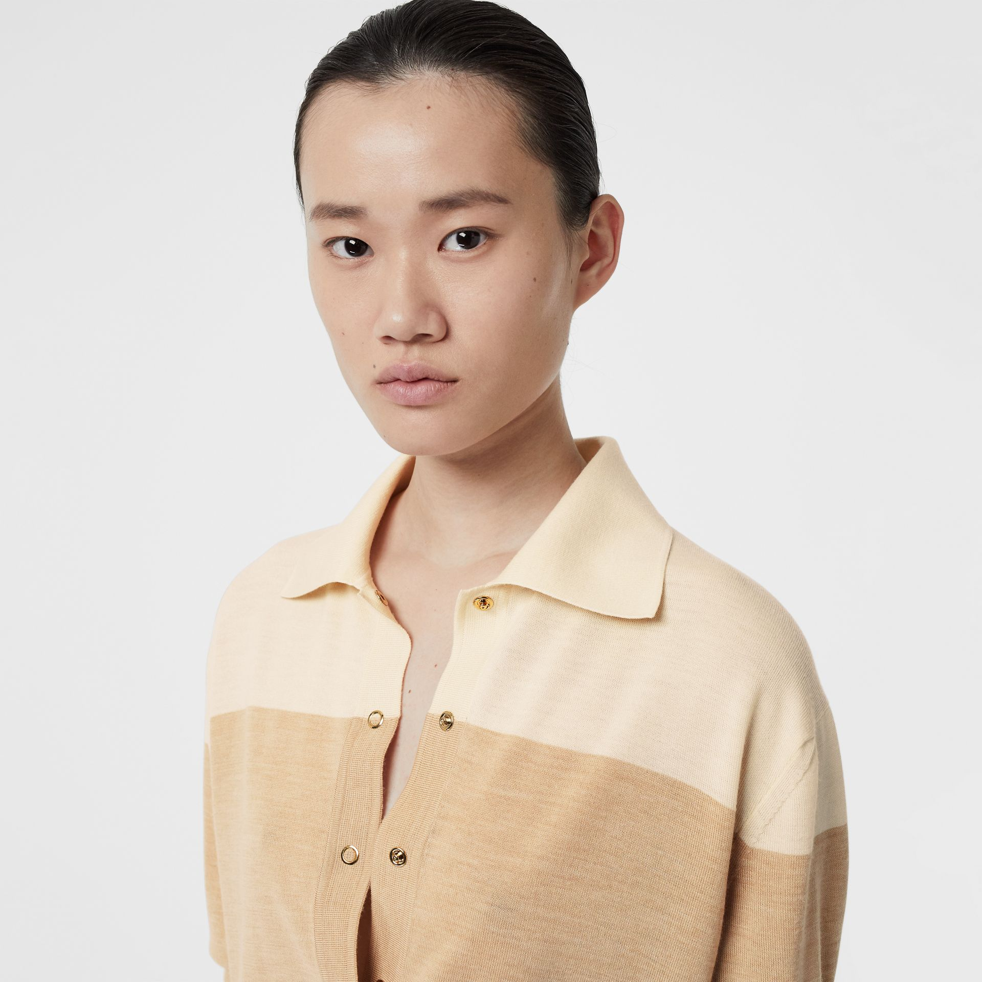 Long-sleeve Two-tone Wool Polo Shirt in Light Maize - Women | Burberry Singapore - gallery image 1