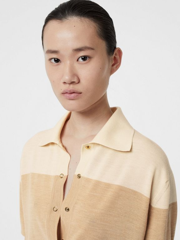 Long-sleeve Two-tone Wool Polo Shirt in Light Maize - Women | Burberry - cell image 1