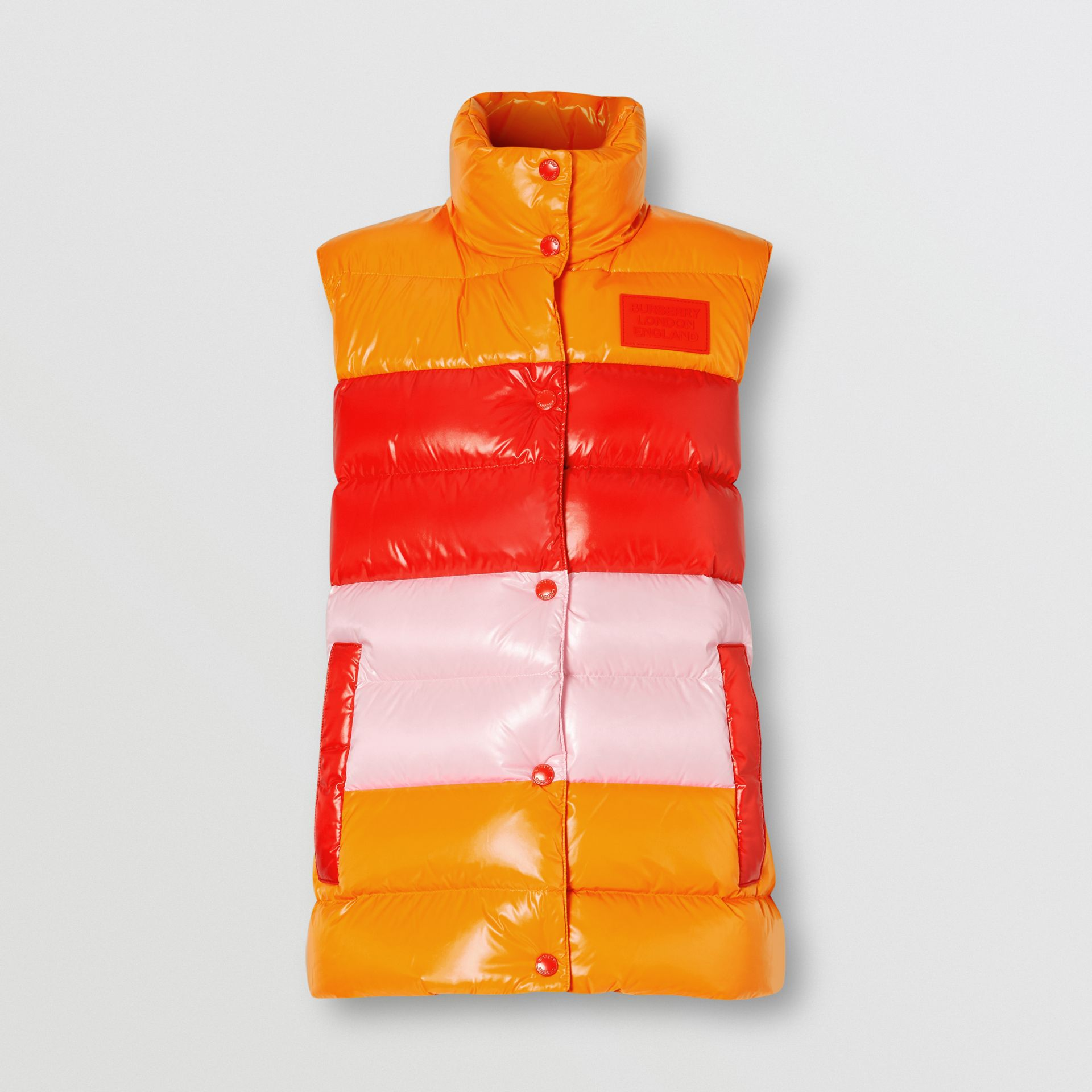 Panelled Nylon Puffer Jacket with Detachable Sleeves in Bright Red - Women | Burberry Hong Kong S.A.R - gallery image 7