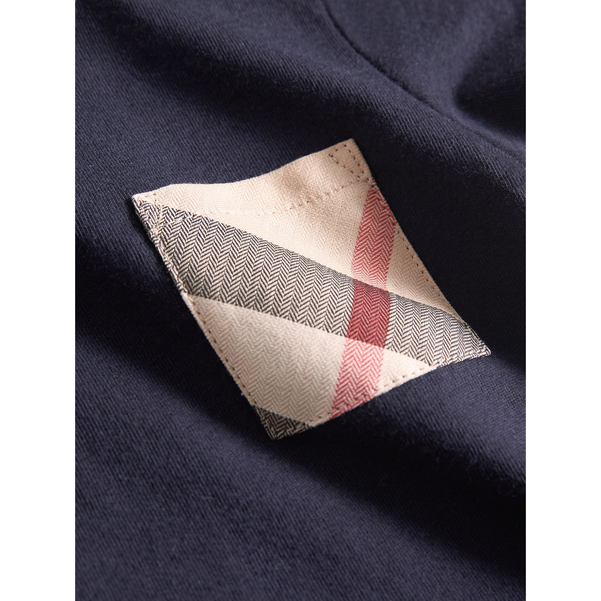 Check Pocket Cotton T-shirt in True Navy | Burberry - gallery image 1