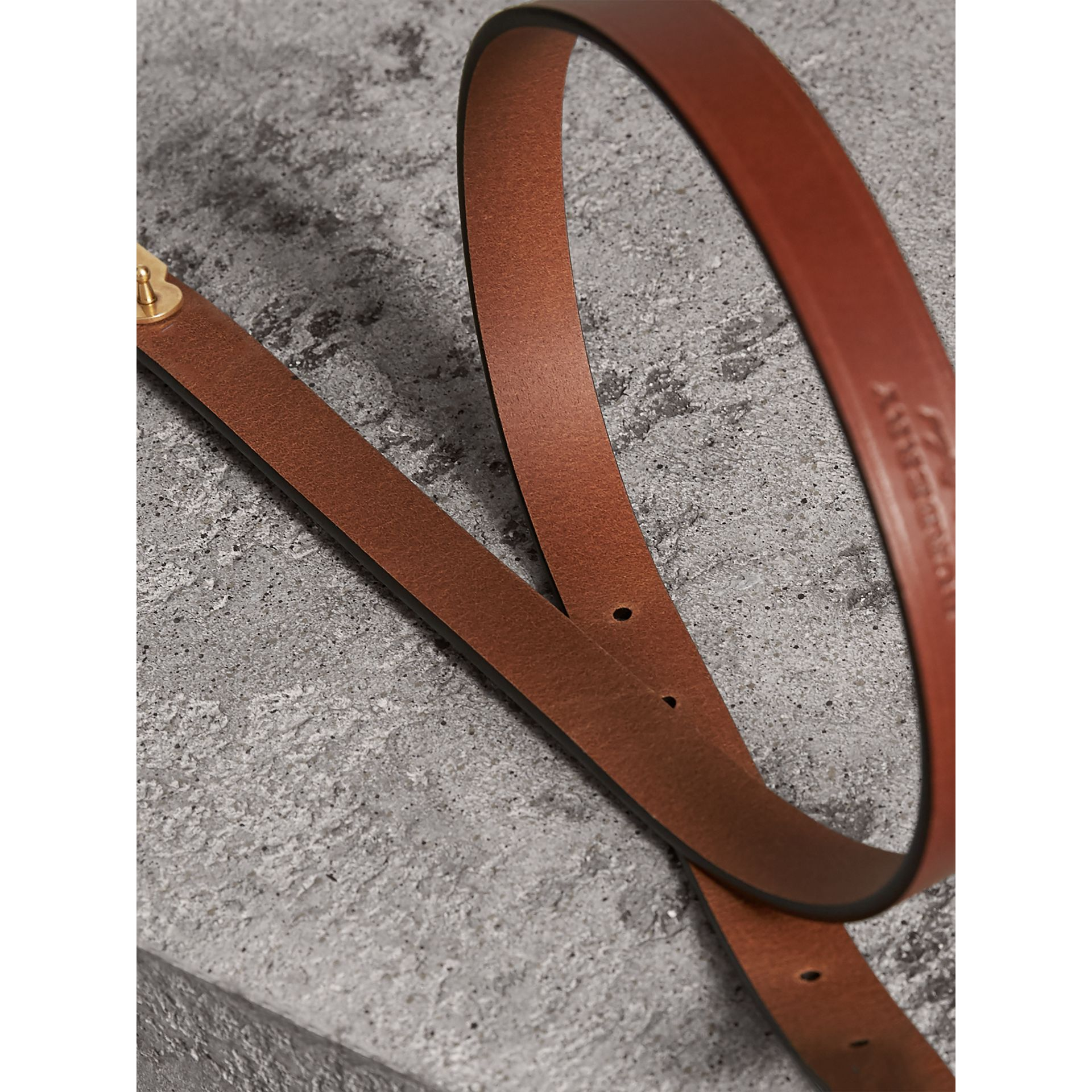 Brass Plaque Buckle Embossed Bridle Leather Belt in Tan - Women | Burberry Singapore - gallery image 2