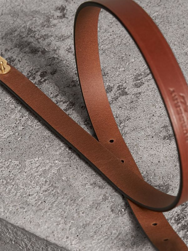 Brass Plaque Buckle Embossed Bridle Leather Belt in Tan - Women | Burberry United Kingdom - cell image 3