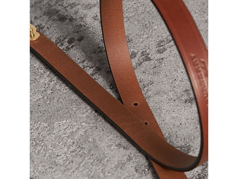 Brass Plaque Buckle Embossed Bridle Leather Belt in Tan - Women | Burberry United States - cell image 2