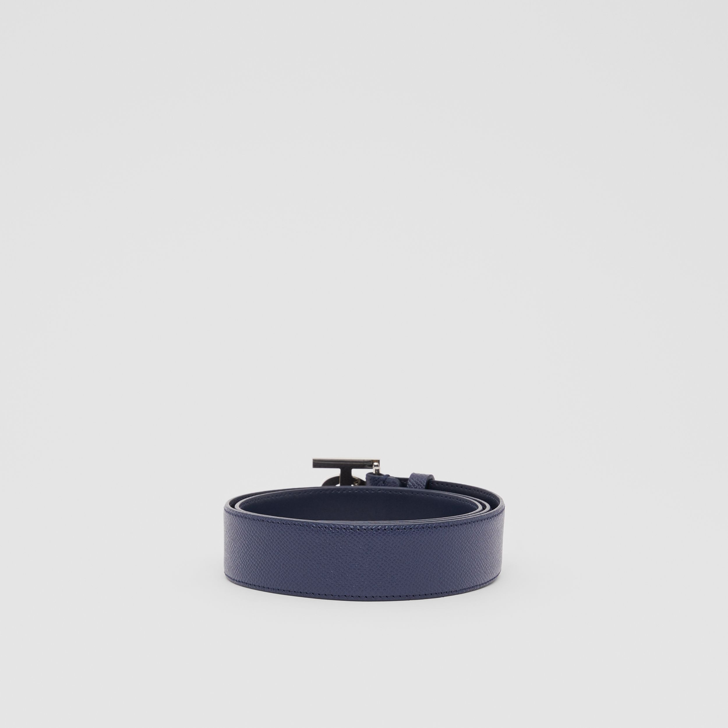 Monogram Motif Grainy Leather Belt in Navy - Men | Burberry - 4