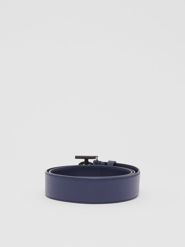 Monogram Motif Grainy Leather Belt in Navy - Men | Burberry United Kingdom - cell image 3