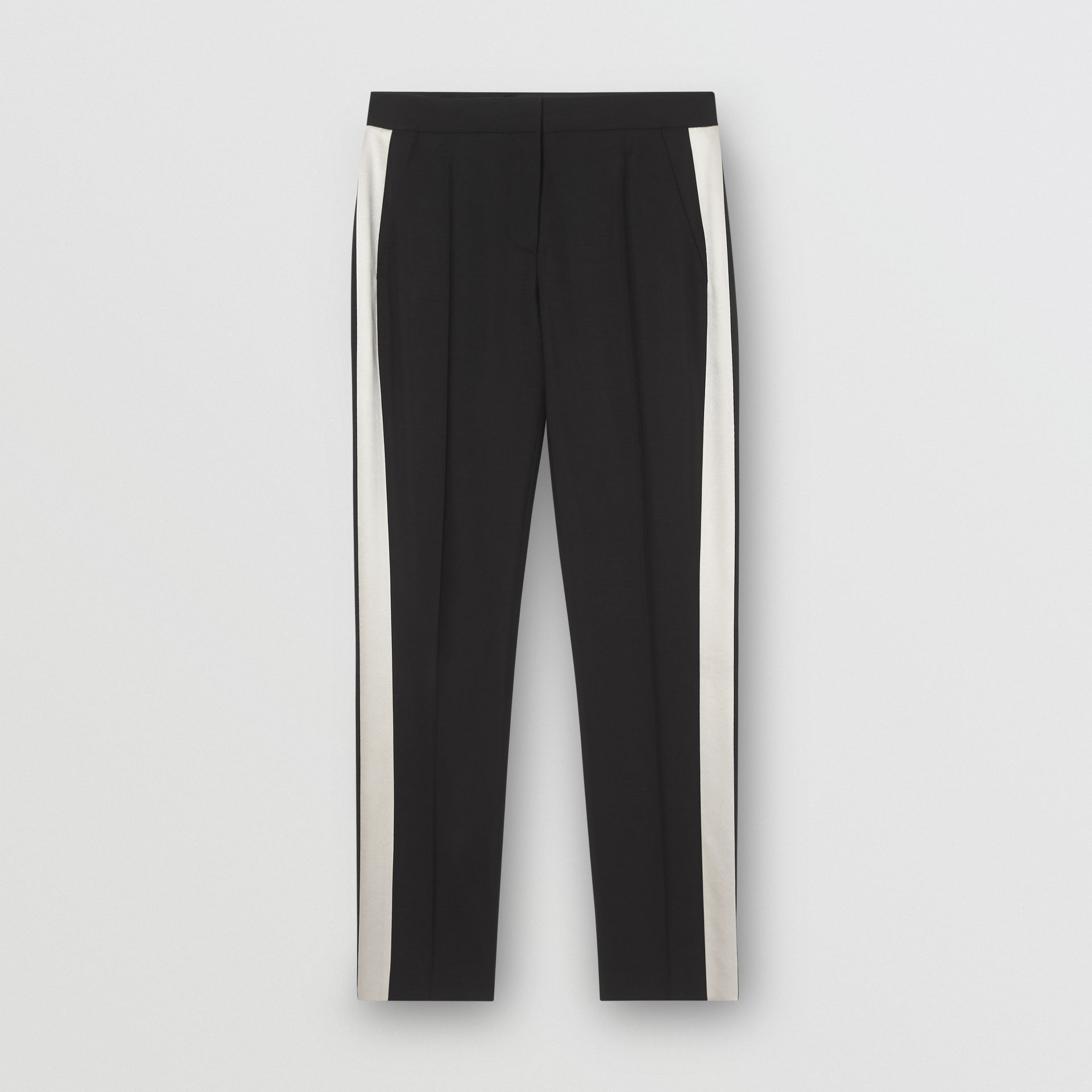 Straight Fit Silk Stripe Wool Tailored Trousers in Black - Women | Burberry - gallery image 3