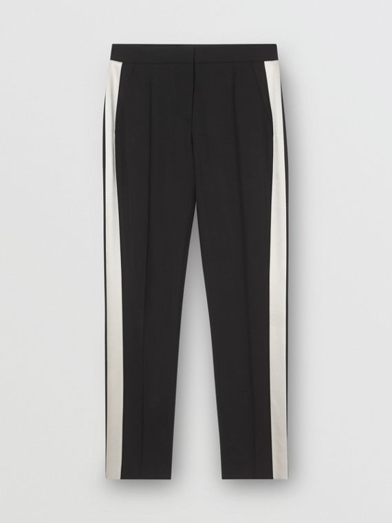 Straight Fit Silk Stripe Wool Tailored Trousers in Black