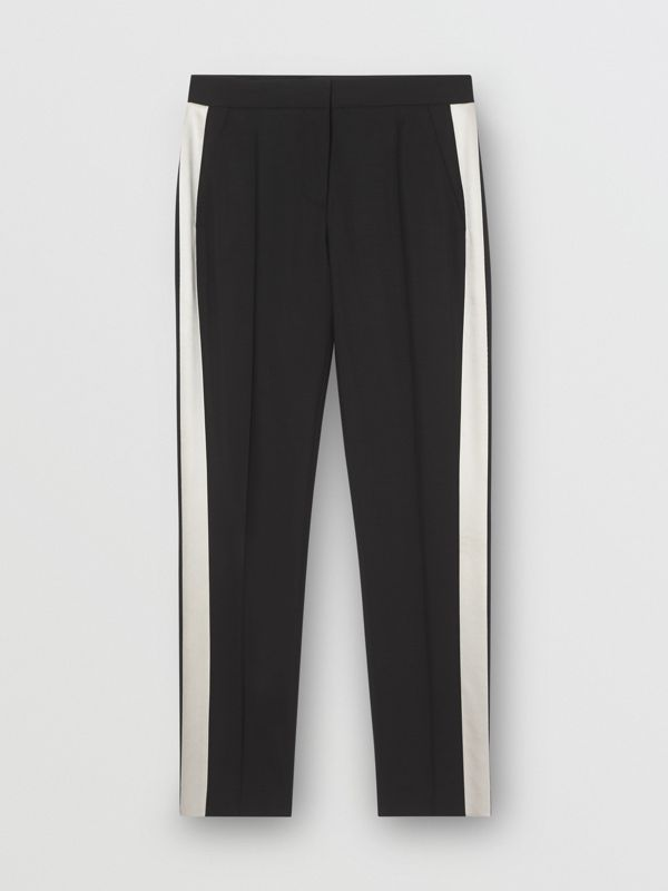 Straight Fit Silk Stripe Wool Tailored Trousers in Black - Women | Burberry - cell image 3