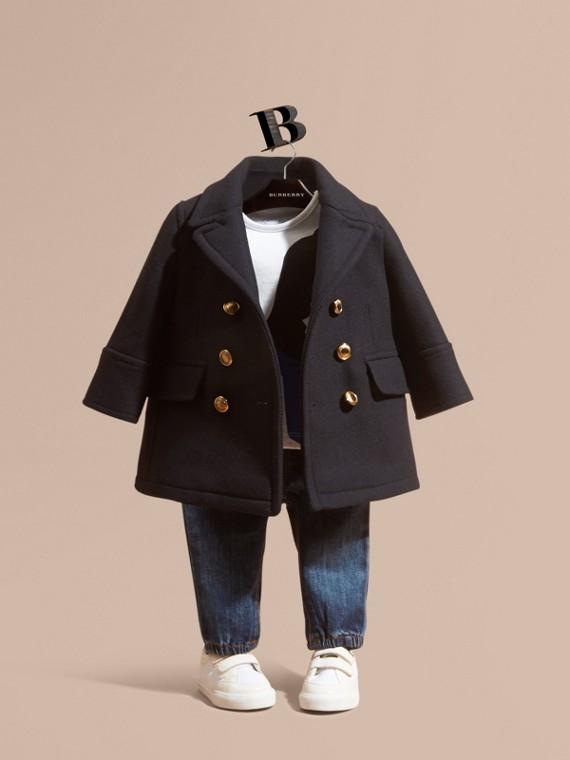 Pea coat in misto lana e cashmere