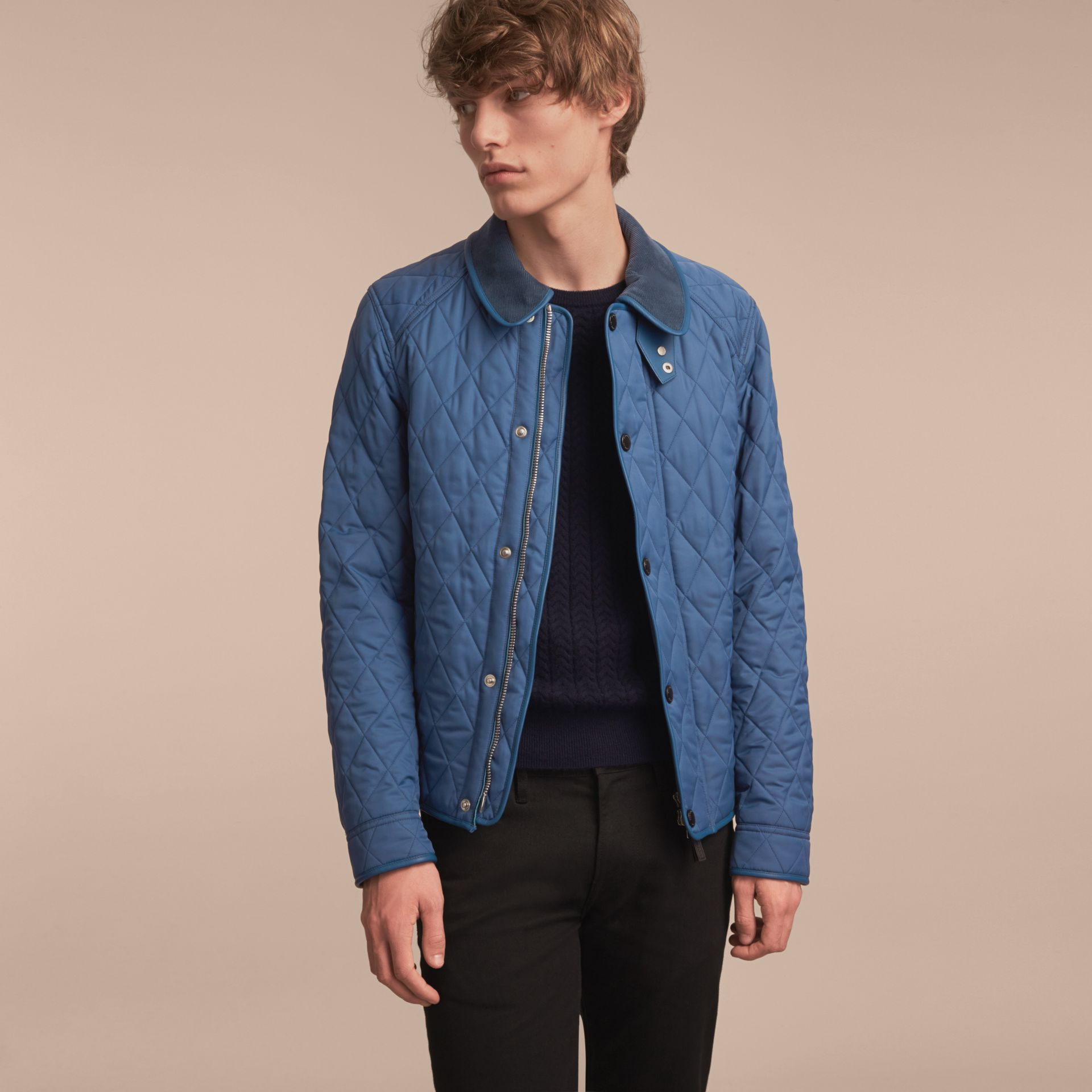 Diamond Quilted Jacket with Leather Trim - gallery image 7