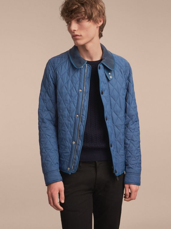 Diamond Quilted Jacket with Leather Trim Mineral Blue