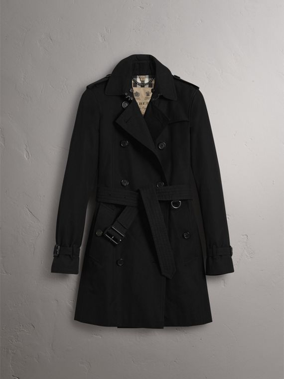 Trench coat Kensington – Trench coat Heritage de longitud media (Negro) - Mujer | Burberry - cell image 3