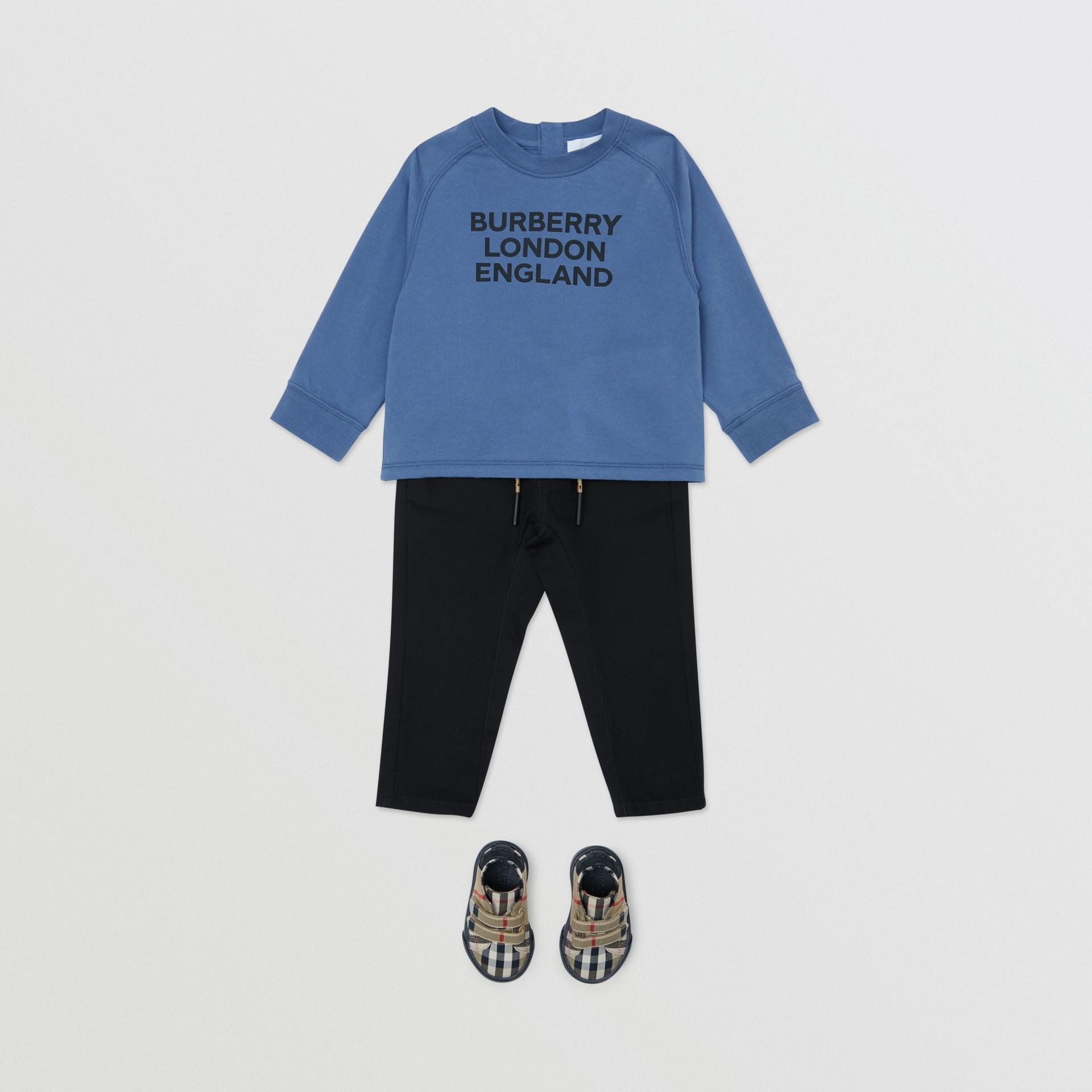 Icon Stripe Detail Cotton Twill Drawcord Trousers in Black - Children | Burberry United Kingdom - gallery image 2