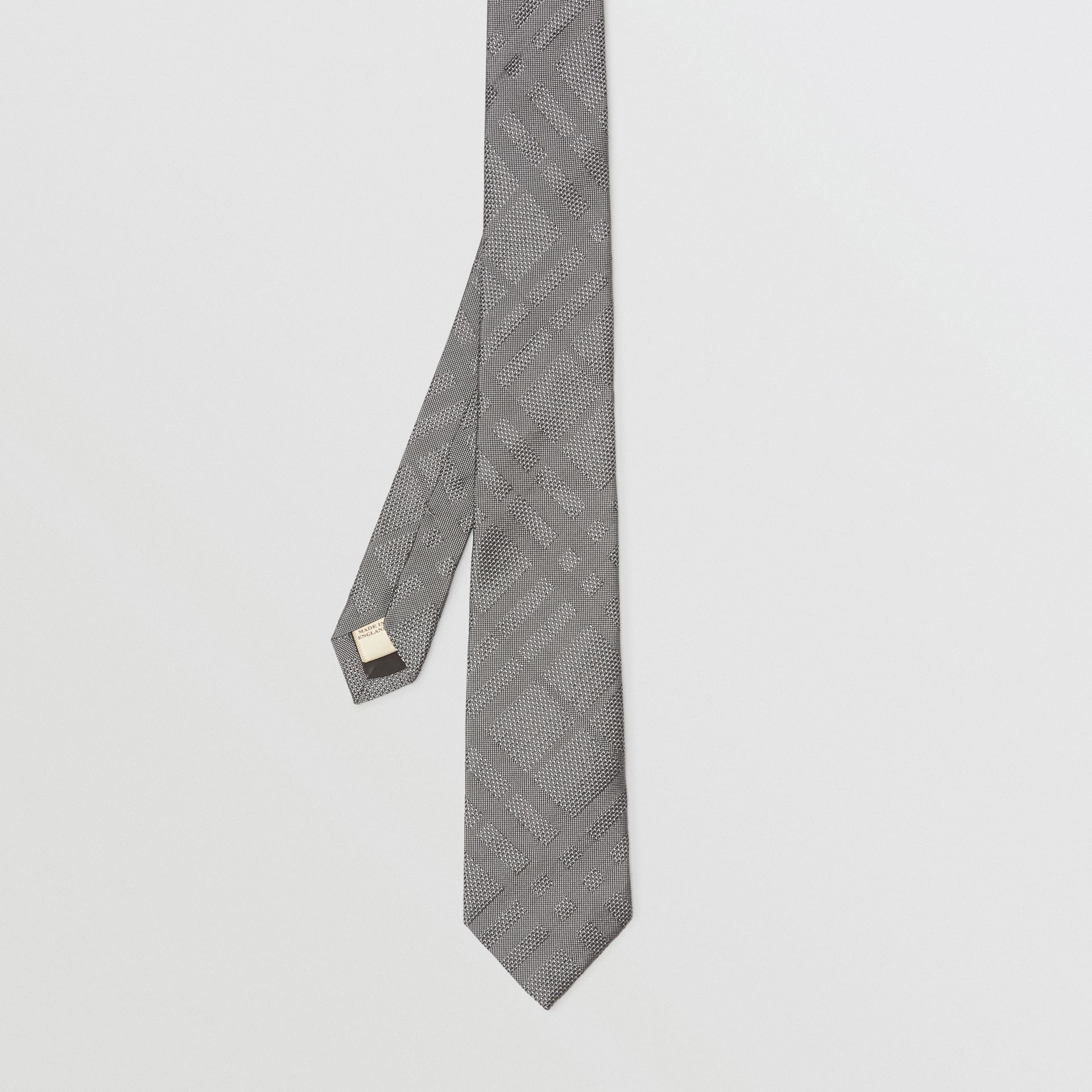 Classic Cut Check Silk Jacquard Tie in Charcoal - Men | Burberry Australia - gallery image 4